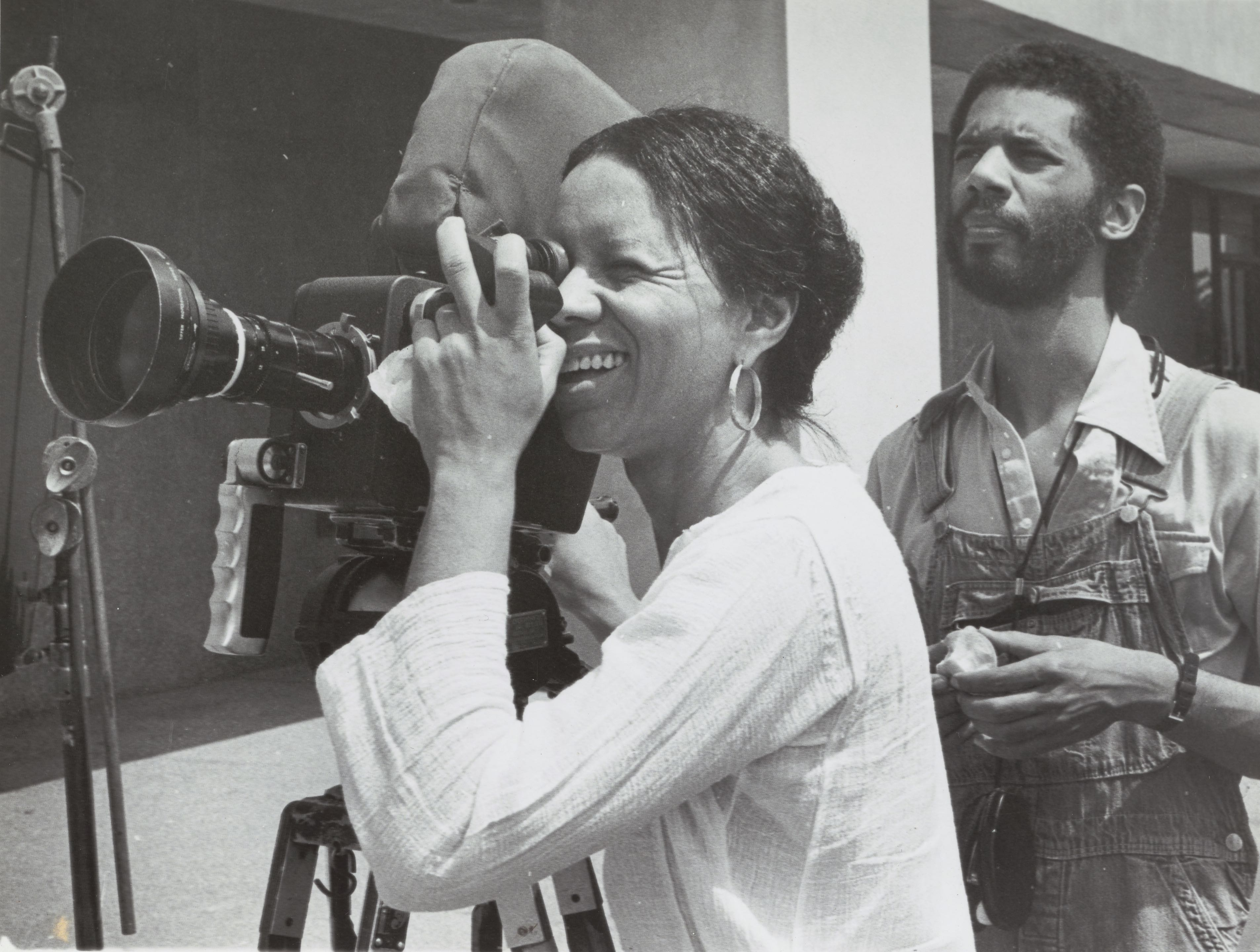 Kathleen Collins and Ronald Gray on the set of Losing Ground, 1982