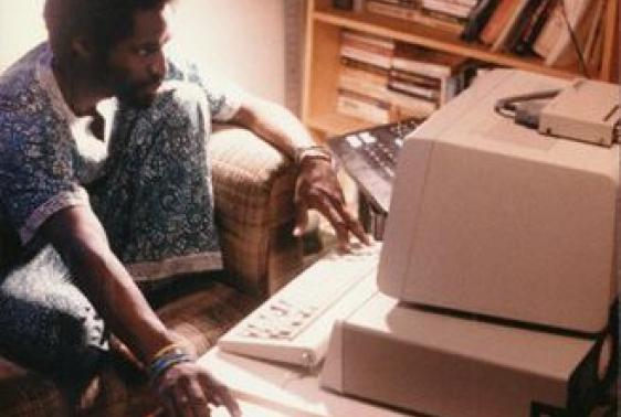 John Henry Thompson using an IBM PC second edition, 1984.